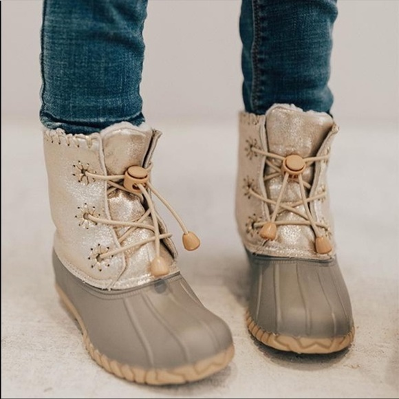 Sizes Girls Metalic Gold Duck Boots